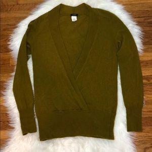 J. Crew Moss Green Deep V Wool Cashmere Sweater